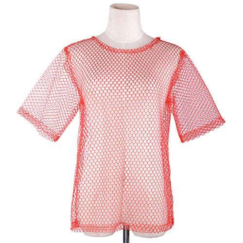 Wraith of East Unisex 80s Fishnet Shirt String Vest Pop Punk Rocker Mesh Club Top Halloween Costumes Red