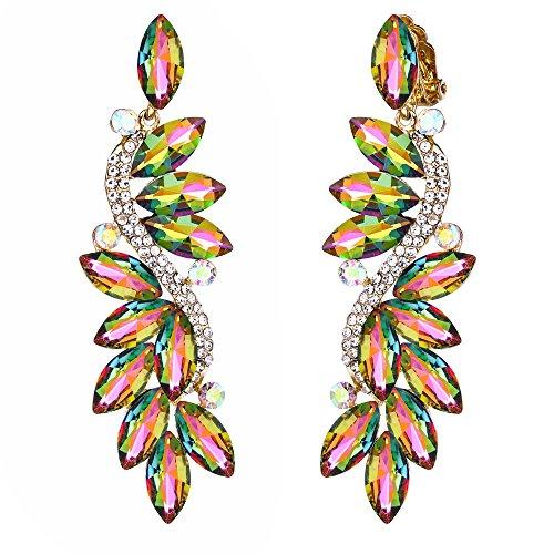 - BriLove Wedding Bridal Clip On Earrings for Women Crystal Multi Marquise Filigree Flower Chandelier Dangle Earrings Vitrail Medium Gold-Toned