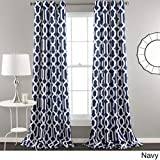 UNKN 2pc 84 Navy Blue White Moroccan Curtains Panel Pair Set, Polyester, Blue Color Drapes Medallion Geometric Trellis Pattern Window Treatments, Luxury Themed Traditional Aztec Design Lattice
