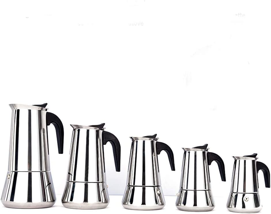 Yongqin Coffee Maker Pot, Stainless Steel Moka Pot, 2/4/6/9/12 Cups Stovetop Coffee Maker Moka Pot Induction Cooker Open Flame Universal