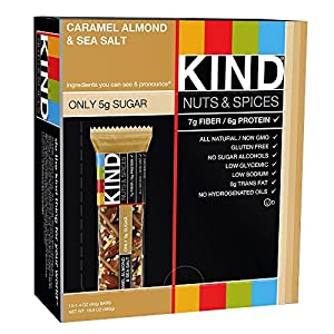 KIND Bars, Caramel Almond and Sea Salt, Gluten Free, 1.4 Ounce Bars, 12 Count (Pack of 4) from KIND