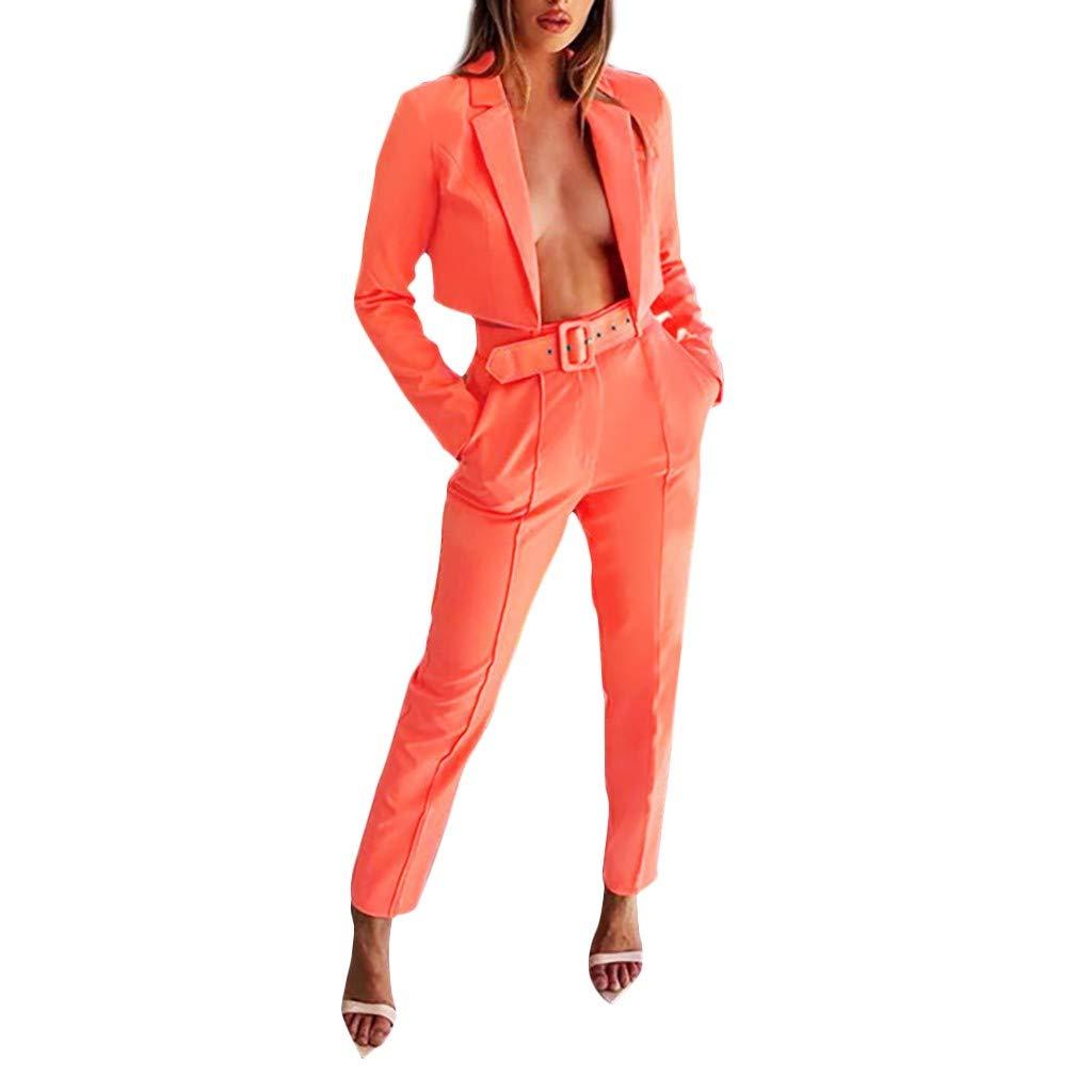 Fashionhe Women Blazer Solid Color Outwear Long Sleeve Button Fit Office Work Tops Bandage Coats Pants Suit(Orange.L) by Fashionhe