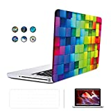 SUNKY MacBook Pro 13 inch Retina Case, Hard PC Snap-on Rubberized Soft-Touch Cover Keyboard Skin HD Screen Protector (A1502 A1425) for MacBook Retina Display 13 inch(NO CD-ROM Drive) - Colorful Grid