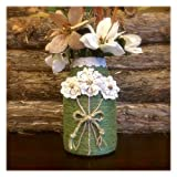 Rustic Jute Wrapped Vase, Green Twine Wrapped Vase, Green Jute Vase with lace flowers For Sale