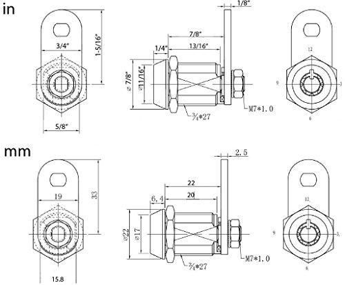 """FJM Security FJM-2400AM-KA Tubular Cam Lock with 7/8"""" Cylinder and Chrome Finish, Keyed Alike"""