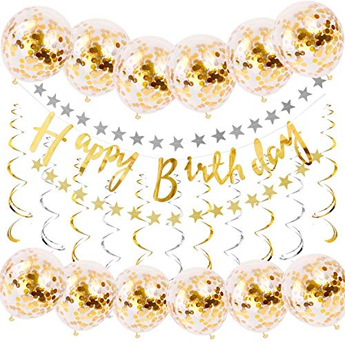 (FEZZ Gold Happy Birthday Decorations Supplies Glitter Paper Banner Confetti Balloons Spiral Foil Swirls Garlands Star Flags)