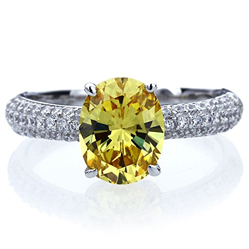 Platinum Plated Sterling Silver 2.5ct Oval Canary Yellow CZ Ladies Cocktail Ring ( Size 5 to 9 ), 7