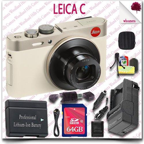 Leica C CMOS WiFi NFC Digital Camera (Gold 18485) + 64GB SDXC Class 10 Card + HDMI Cable + Soft Camera Case + 12pc Leica Saver Bundle