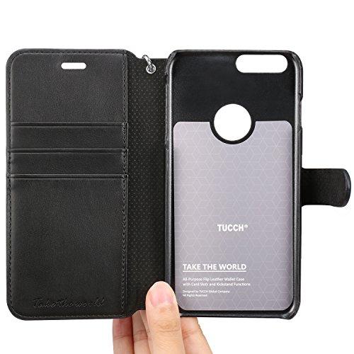 Custodia iPhone 7 Plus, TUCCH Cover in Pelle [GARANZIA DI VITA], [Pellicole Protettive], Stand Porta Carte e Protettiva Flip Portafoglio Flip Case per iPhone 7 Plus, con Chiusura Magnetica, Nero