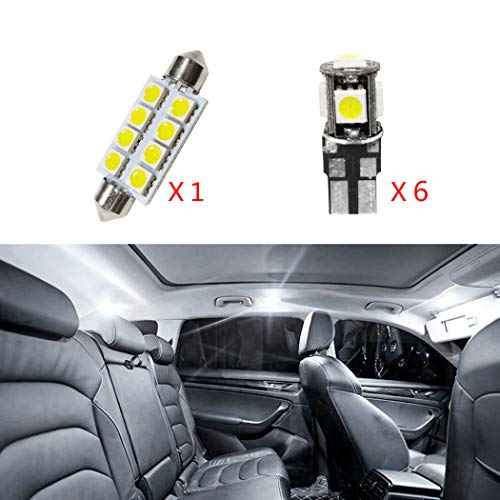 ALLYARD for Cadillac CTS Car Interior Light Bulbs LED Dome Lights Map Compact Wedge Extremely Bright Chipset Xenon White 7Pcs