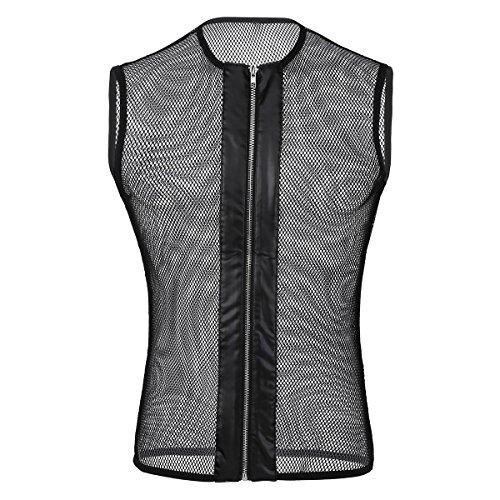 YiZYiF Menas Mesh See-Through Tops Round Neck Sleeveless Tank Tees Black - Mena Clothing