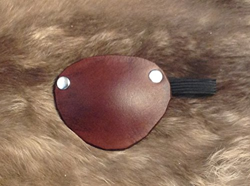 Nickel Studded Medium Brown Leather Pirate Eye Patch