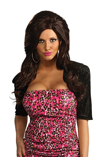 Snooki Black Dress Costumes (Jersey Shore Adult Snooki Wig, Black, One Size)