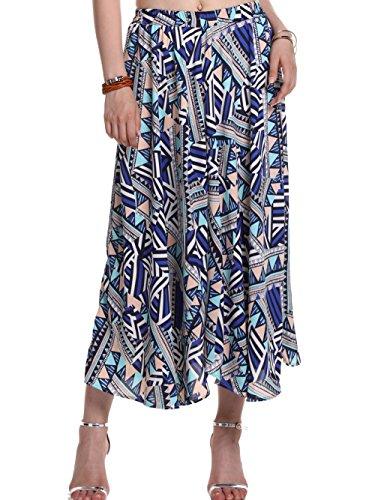 AMORETU Falda larga falda Para Mujer Bohemio Largo Falda plisada Long Skirt multicolor 3211
