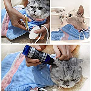 MMKSTO Cat Grooming Bag Restraint Adjustable Soft Washing Bag Biting and Scratching Resisted for Bathing Nail Trimming… Click on image for further info.