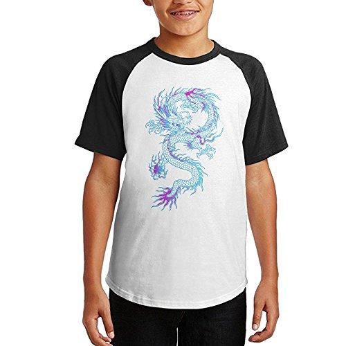 Dragon Boys & Girls Youth Teenager Raglan Tshirt Black (Paul Pierce Youth Jersey)