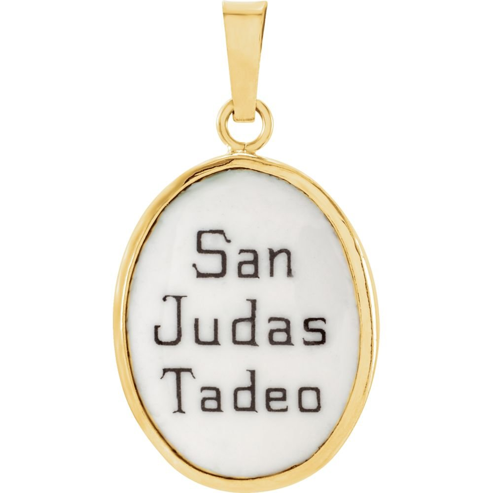 Jude Hand-Painted Porcelain Medal 14K Yellow 17x13.5mm St