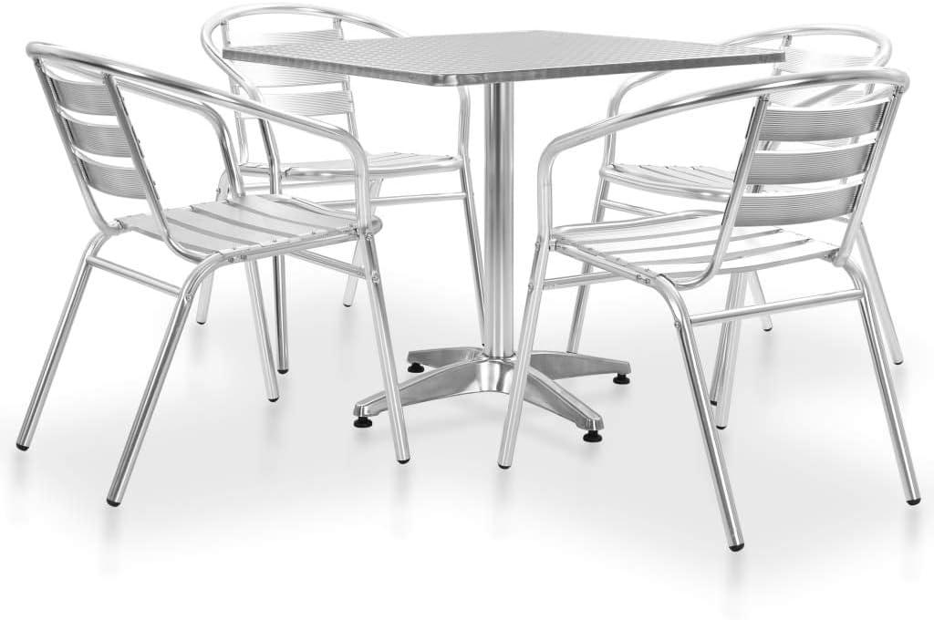 PiuShopping Set Tavolo da Balcone con 2 sedie in Legno di Acacia Grigio 80x80
