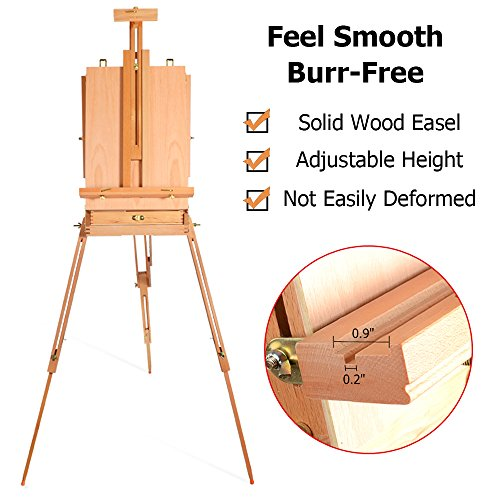 ShowMaven HX-3 Art Easel, Wooden Drawing Floor Easel Stand, Oil Painting Watercolor Sketch Box, French Artist Travel Tripod Adult Easel with Storage, Collapsible Plein Air Protable Outdoor (Brass Lock Classroom)