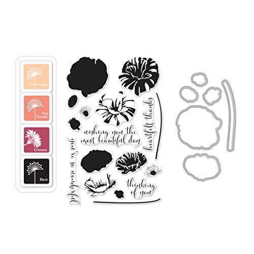 (Hero Arts Color Layering Poppy Bundle Rubber Stamp, Die & Ink Pad Set (SB145))