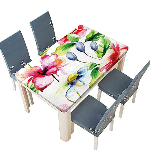 (PINAFORE Waterproof SpillProof Tablecloth Seamless Wallpaper with Summer Flowers,Watercolor Illustration Liquid Spills Bead up W45 x L84.5 INCH (Elastic Edge))