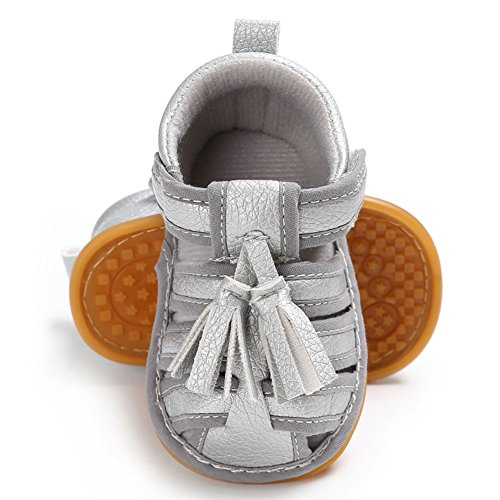 hibote Neugeborene Baby Jungen Mädchen Quasten Weiche Leder Anti-Rutsch Sandalen Prewalker Schuhe Black 12-18M Silber