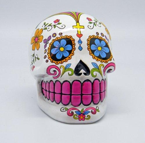 Fantasy Gifts White Sugar Skull Mexican Day of the Dead Dia de Los Muertos Coin Bank