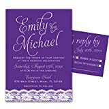 100 Wedding Invitations Purple Violet Lace Design + Envelopes + Response Cards Set