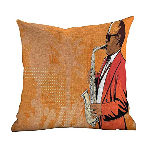 (Matt Flowe Bed Pillowcase Music,Illustration of Saxophone Player on Background with Palm Trees Tropical Print,Orange Red Golden,Square Cotton Linen Pillowcase Cover Cushion 16
