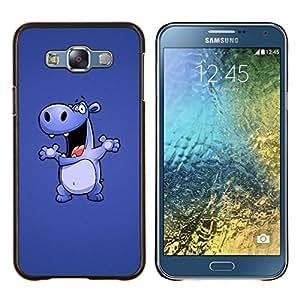 KLONGSHOP // Cubierta de piel con cierre a presión Shell trasero duro de goma Protección Caso - Dibujo Cartoon Hippo grande Animal Danza - Samsung Galaxy E7 E700 //