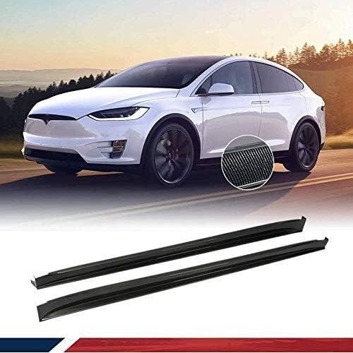 Tesla Model X 75D 90D P90D 100D P100D SUV 2016-2019カーボンファイバーロッカーアームサイドパネルスポイラーエクステンションリップボトムラインにフィットするサイドスカート
