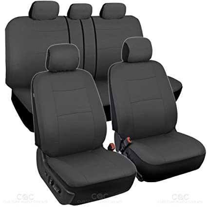 BDK Charcoal Black Car Seat Covers Full 9pc Set