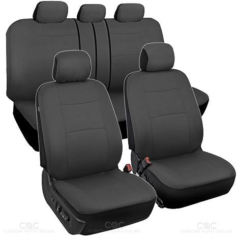 Bdk Charcoal Black Car Seat Covers Full 9pc Set Sleek Stylish Split Option Bench 5 Headrests Front Rear Bench Os 309 Ac