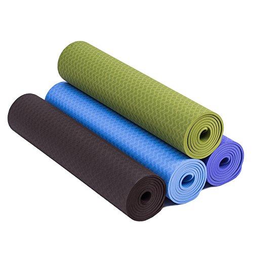 Premium Tpe Yoga Mat 6mm Thick Non Slip Exercise Mat