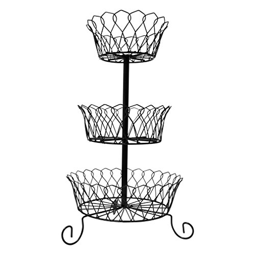 3 tier fruit basket coated iron serving holder rack display kitchen stand ebay. Black Bedroom Furniture Sets. Home Design Ideas