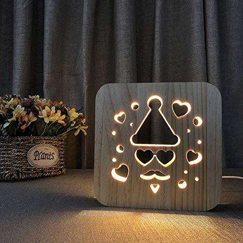 WALKKING WAYS Creative Wood Lamp, LED Night Light/3D Wood Carving Santa Claus Pattern USB Portative Mood Lamp for Bedroom Living Room Nightstand, Nordic Style ()