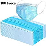 100 Pack Disposable Protective Surgical Masks - Face Mask for Germs, Dust, Smoke, and Pollen Outdoor