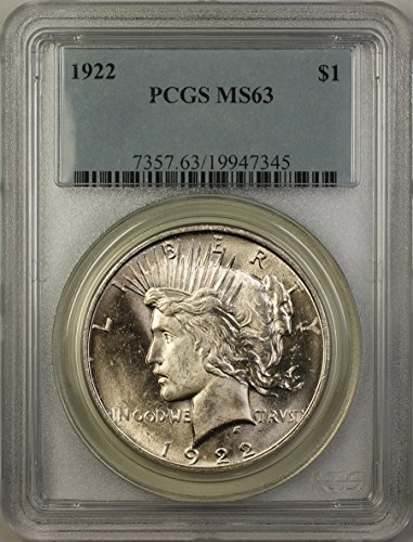 1922 Peace Silver Dollar Coin (ABR11-C) Better Coin $1 MS-63 PCGS