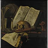 [Music Iconography] [Fris, Jan, ca 1627-ca 1672 (Netherlands) ATTRIBUTED TO]: Vanitas Still Life with Pochette violin, skull, book, recorder, and overturned glass