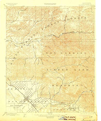 (YellowMaps Fernando CA topo map, 1:62500 Scale, 15 X 15 Minute, Historical, 1900, Updated 1905, 19.9 x 16.6 in - Paper)