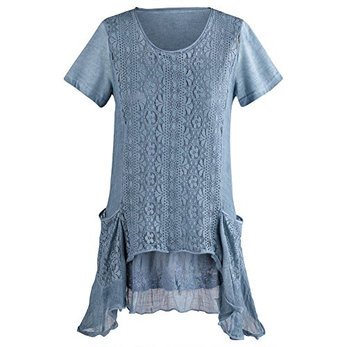 Women's Long Tunic Top - Blue Crochet Embroidered Lace Pockets Blouse - 2X