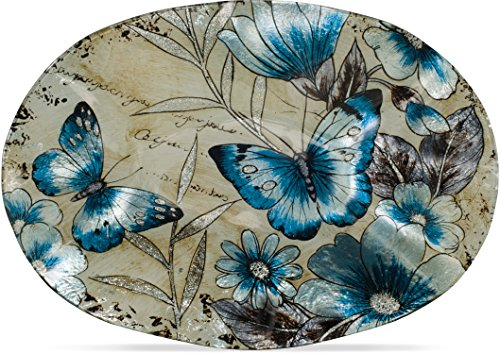 - Angelstar 19574 Vintage Butterfly Oval Plate, 12