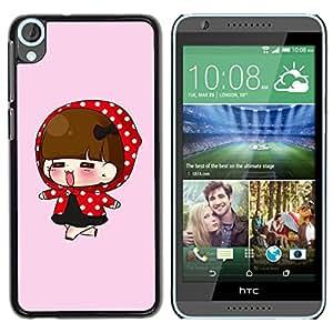 TopCaseStore / la caja del caucho duro de la cubierta de protección de la piel - Cute Red Hood Girl - HTC Desire 820