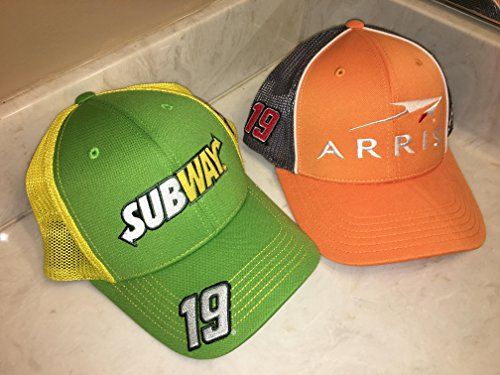 Lot of 2 Nascar Team Issued Hats Caps Carl Edwards FitMax70 Joe Gibbs Racing ARRIS SUBWAY Toyota TRD
