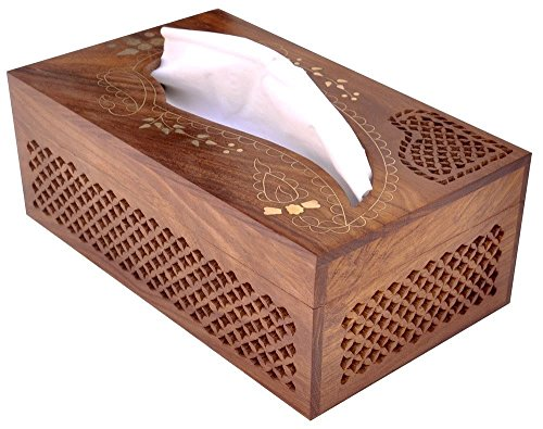 Todays Big Deal – Javi Handmade Wooden Facial Tissue Box Cover Holder with Brass Work Home Decor and Lovely Gift Idea