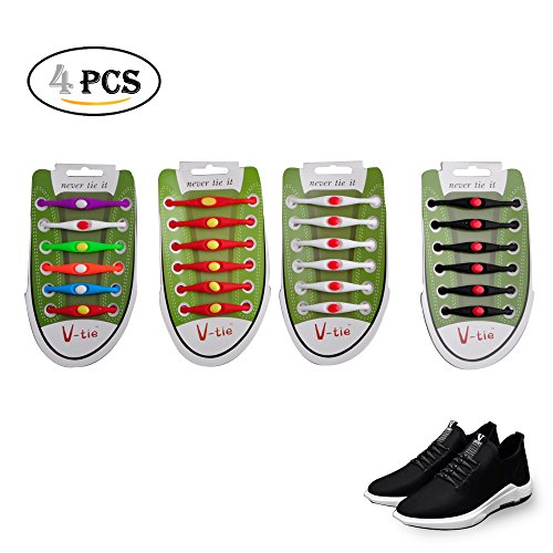 12 pcs Easy No Tie Elastic Silicone Shoe Laces (Red) - 5