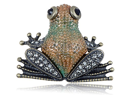 Alilang Swarovski Crystal Elements Antique Bumpy Skin Brown Frog Pin Brooch (Brooch Frog Crystal Swarovski)