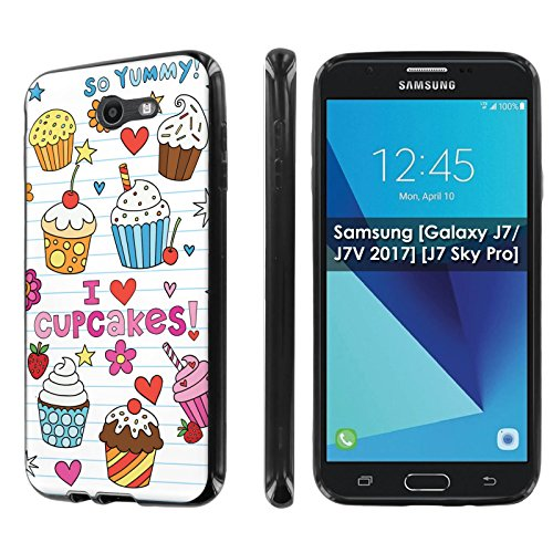 - Samsung [Galaxy J7/J7V 2017] [J7 Sky Pro] [NakedShield] [Black] Ultra Slim Cover Case [Screen Protector] - [Doodles Cupcakes] for Galaxy J7 [2017]