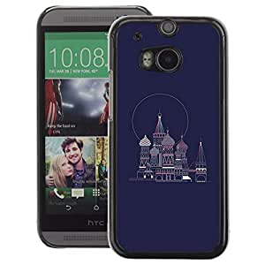 A-type Arte & diseño plástico duro Fundas Cover Cubre Hard Case Cover para HTC One M8 (Petersburg Russia Navy Blue Red Square)