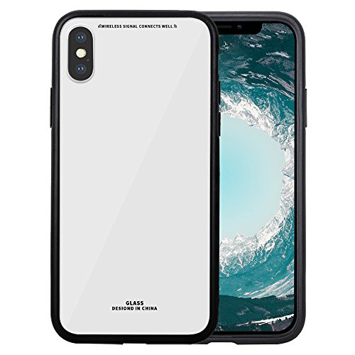 Price comparison product image GreenElec iPhone X Case 9H Hardness Glass Back Cover Anti-Scratch with Excellent Grip Compatible for Apple iPhone X (2017) - White